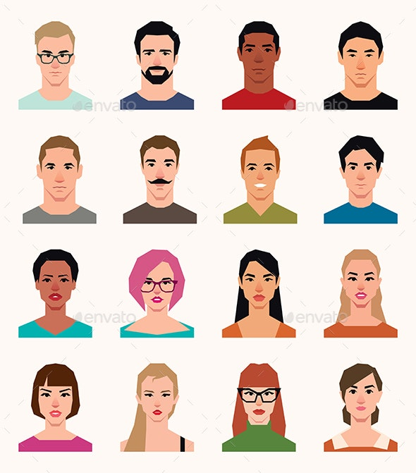 Set of Vector Avatars Icons Men and Women - People Characters