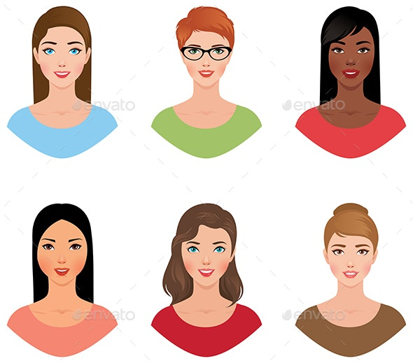 Avatars Women of Different Colors of Skin and Hair - People Characters