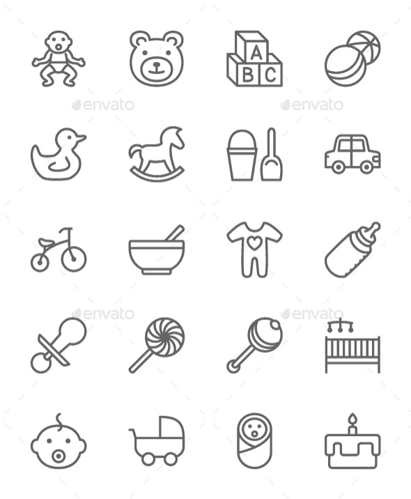Set Of Baby And Childhood Line Icons. Pack Of 64x64 Pixel Icons - Objects Icons