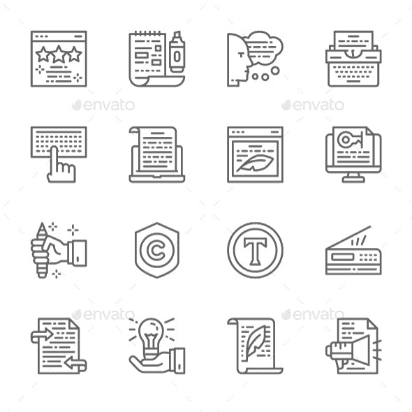 Set Of Copywriting Line Icons. Pack Of 64x64 Pixel Icons