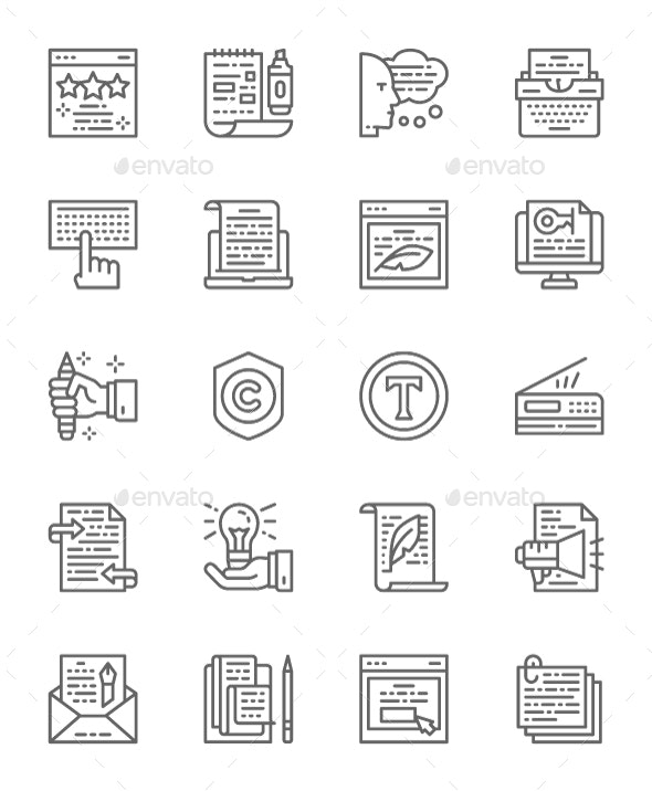 Set Of Copywriting Line Icons. Pack Of 64x64 Pixel Icons - Objects Icons