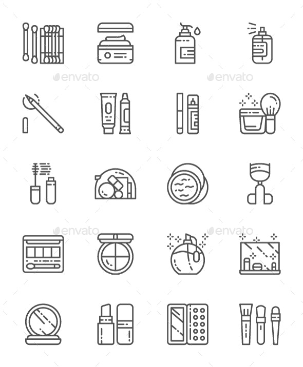 Set Of Makeup And Cosmetics Line Icons. Pack Of 64x64 Pixel Icons - Objects Icons