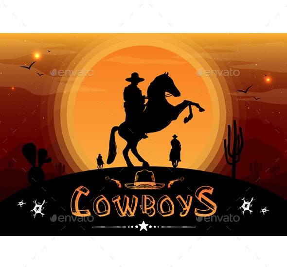 Silhouette of Cowboys - People Characters