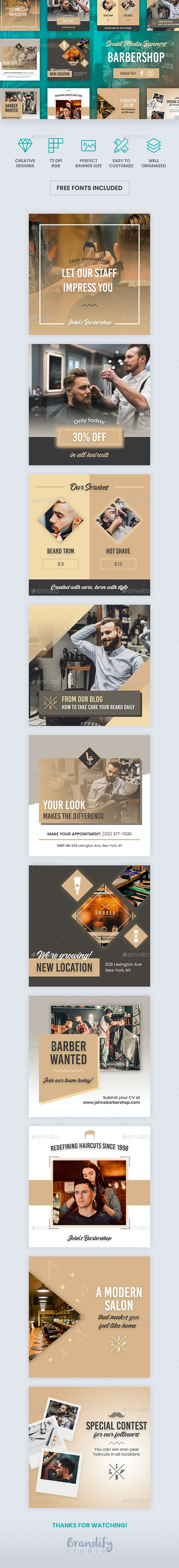 Barbershop Banners - Social Media Web Elements