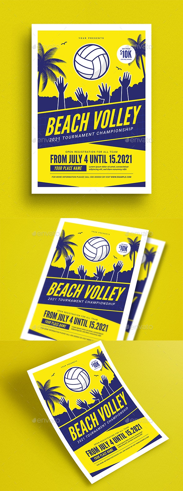 Beach Volleyball Tournament Flyer - Flyers Print Templates