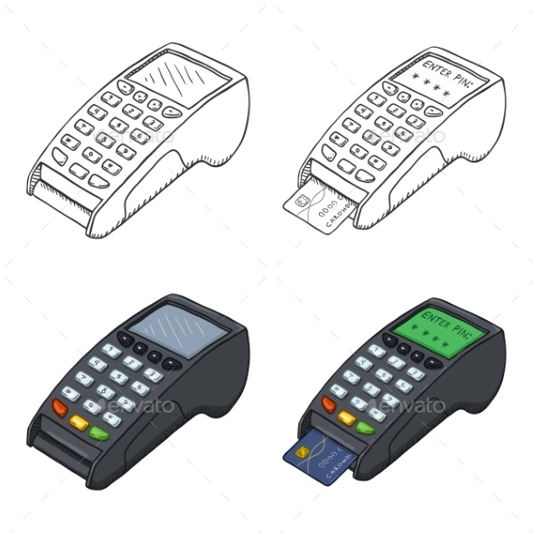 Vector Set of Sketch and Cartoon Payment Terminal - Miscellaneous Vectors