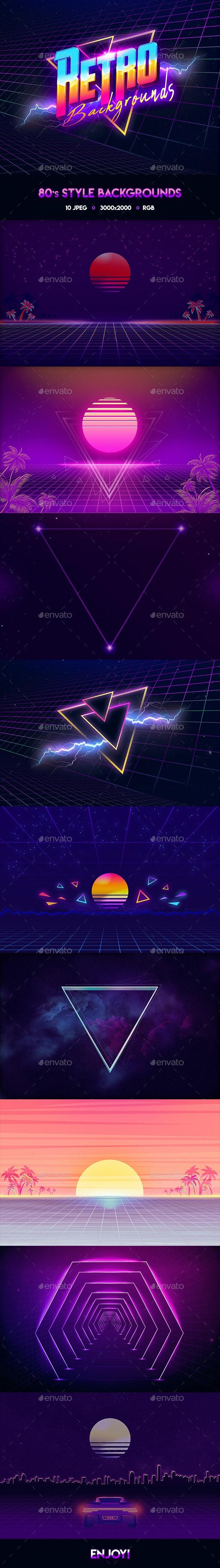 80s Retro Backgrounds 2 - Tech / Futuristic Backgrounds