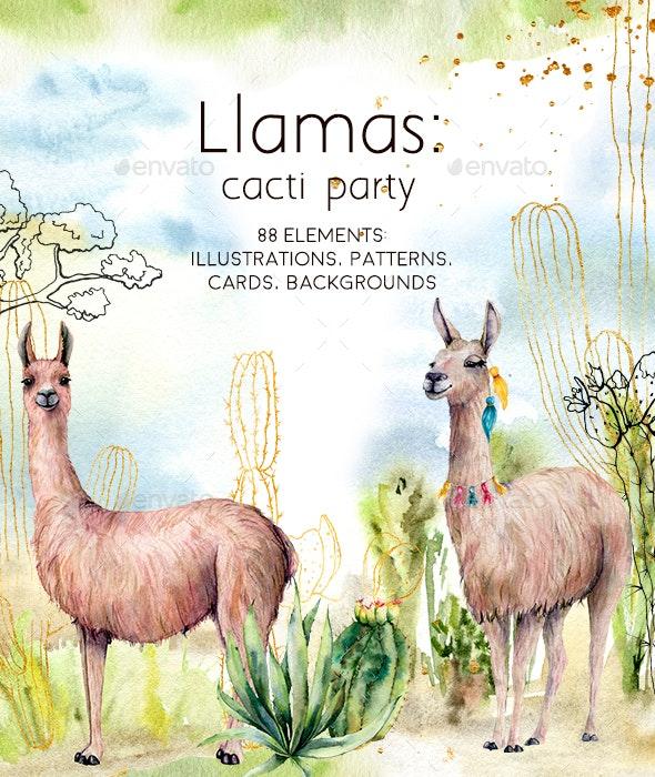 Llamas: Cacti Party. Watercolor - Animals Illustrations