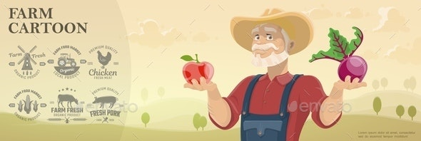 Cartoon Farm and Agriculture Background - Animals Characters