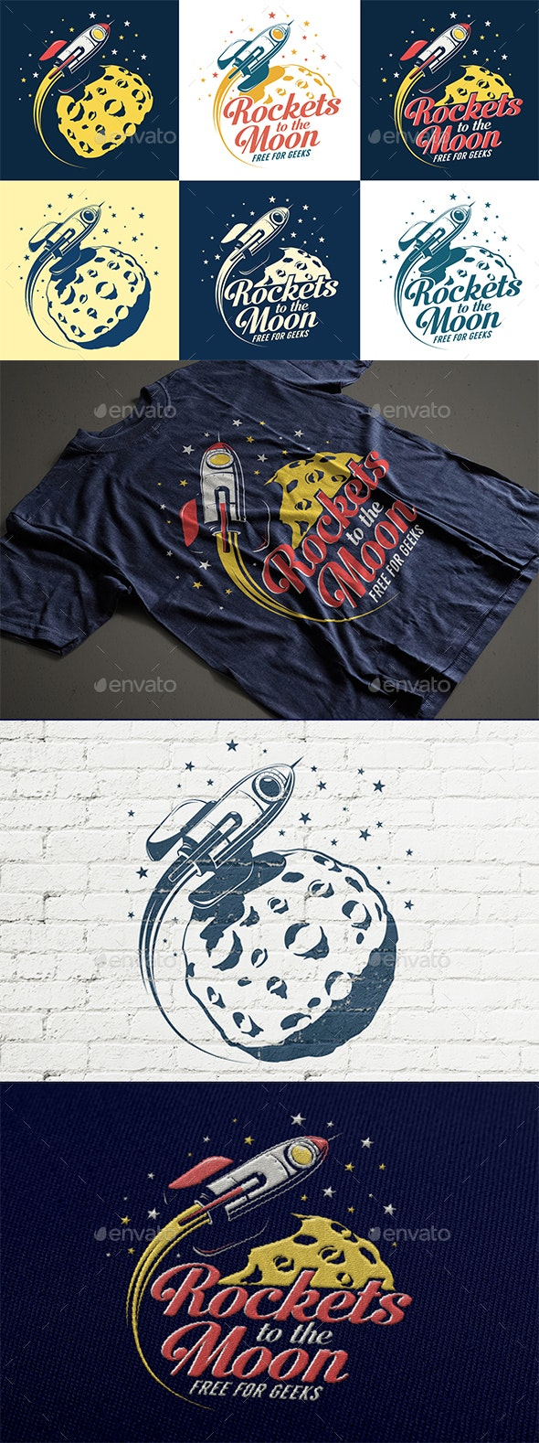 Rocket and Moon Retro Print - Miscellaneous Vectors