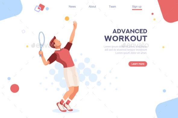 Set Sportsman Playing Tennis - Sports/Activity Conceptual