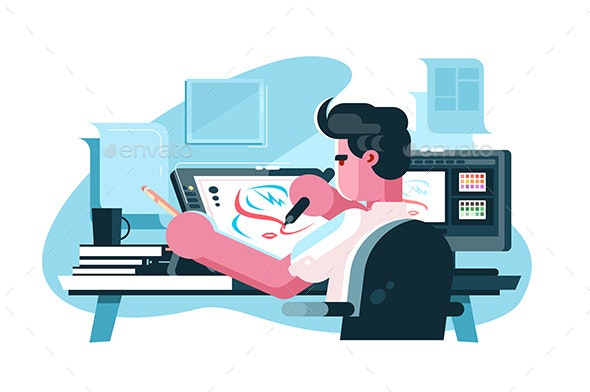 Illustrator at Workplace - Computers Technology