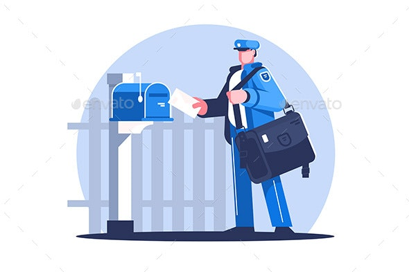 Postman with Bag Delivering Letters - People Characters