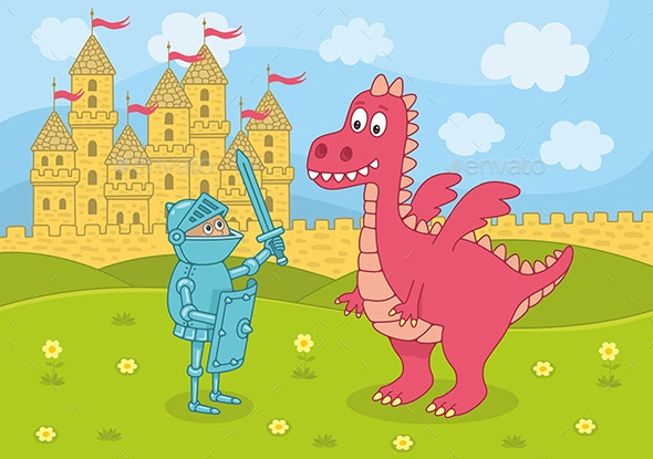 Knight and Dragon on Castle Background - Miscellaneous Characters