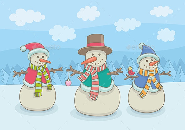 Three Happy Snowmen - Miscellaneous Characters