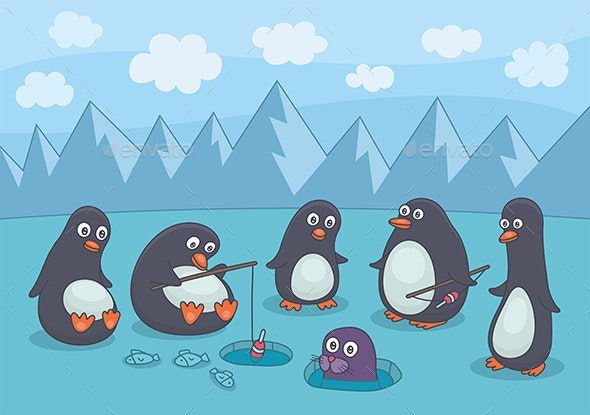 Penguins Fishing - Animals Characters