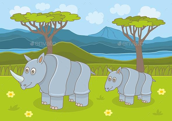 Rhinoceros Family - Animals Characters