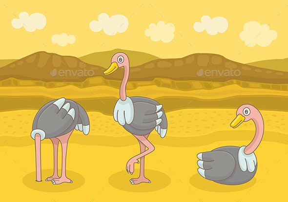 Three Happy Ostrich - Animals Characters