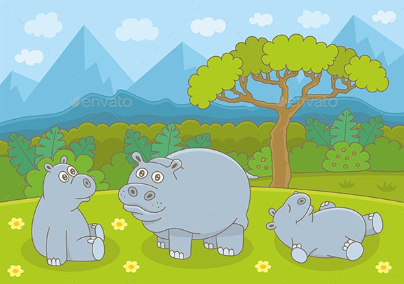 Hippopotamus Family - Animals Characters