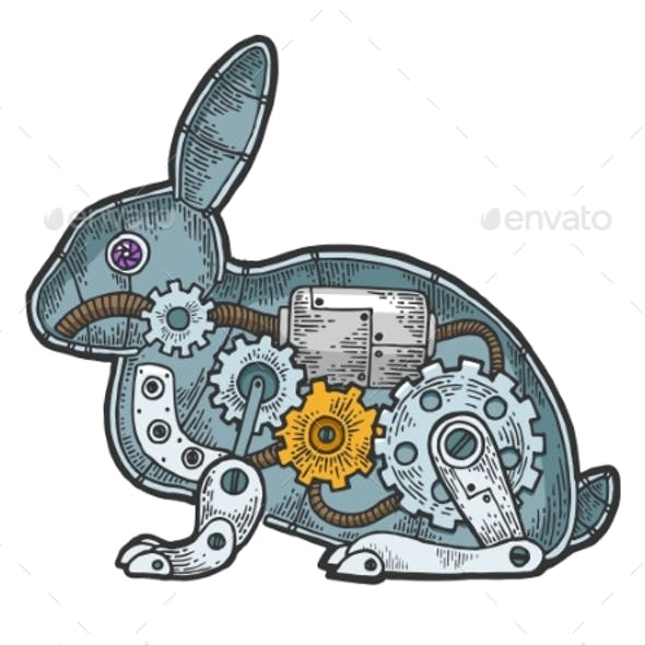 Mechanical Rabbit Animal Color Sketch Engraving