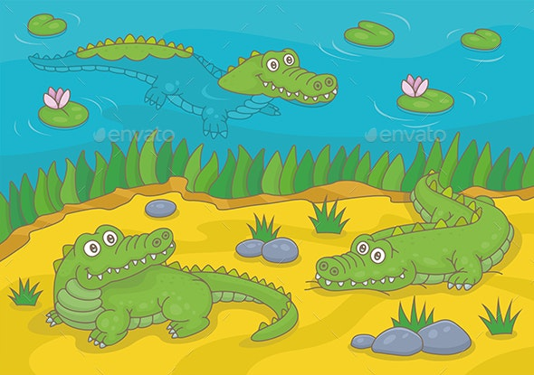 Three Happy Crocodiles - Animals Characters