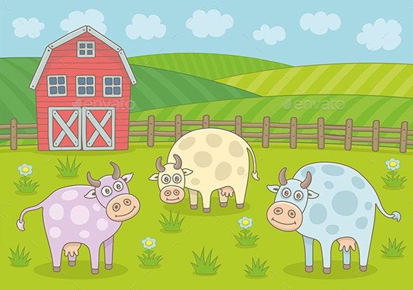Rural Landscape with Cows and Farm - Animals Characters