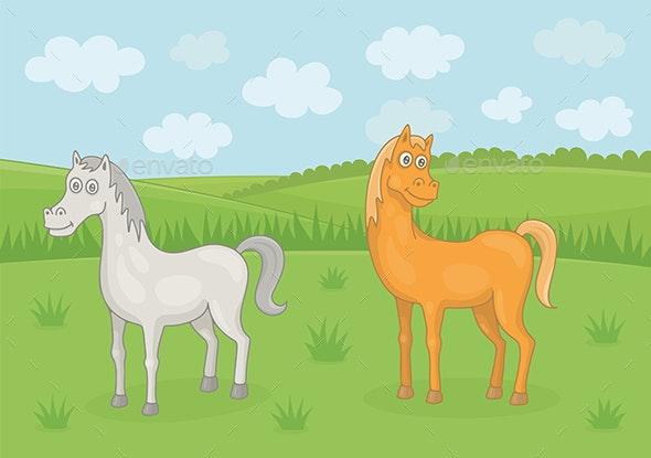 Grazing Horses - Animals Characters