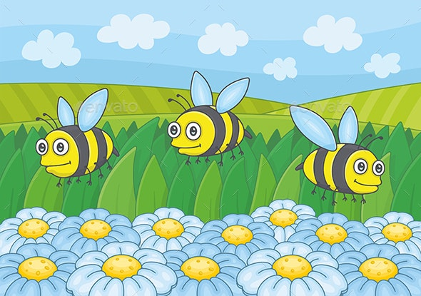 Bees and Flowers - Animals Characters