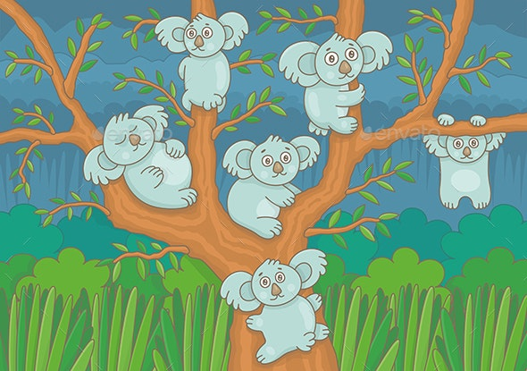 Koalas on a Tree - Animals Characters