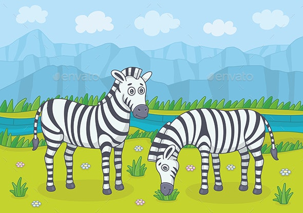 Two Zebras in Nature - Animals Characters