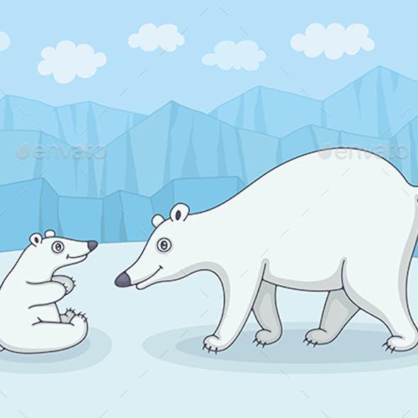 White Polar Bear with Cub