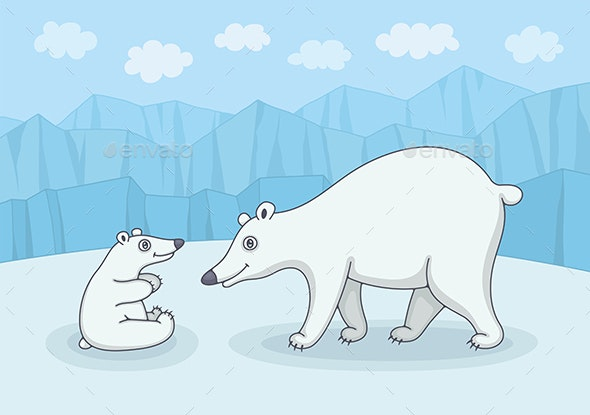 White Polar Bear with Cub - Animals Characters