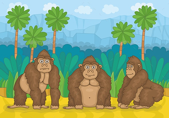 Three Gorillas in Jungle - Animals Characters