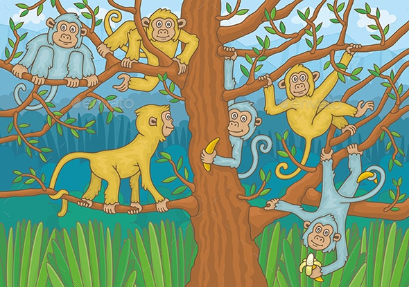 Macaques Among the Trees - Animals Characters