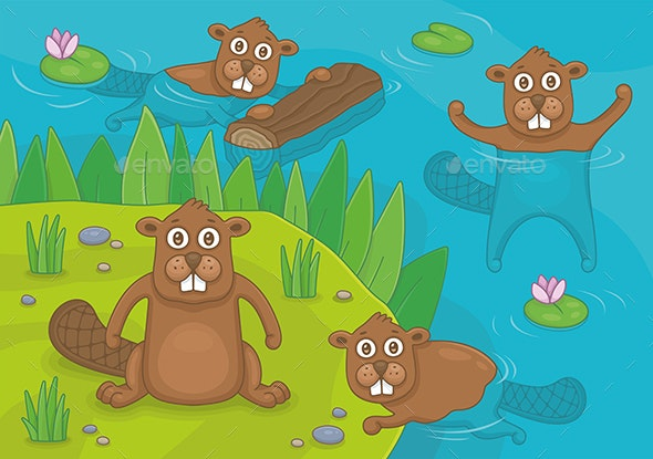 Family of Beavers - Animals Characters