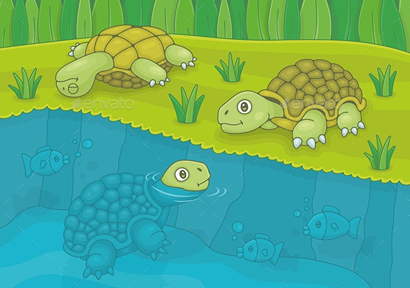 Family of Turtles - Animals Characters