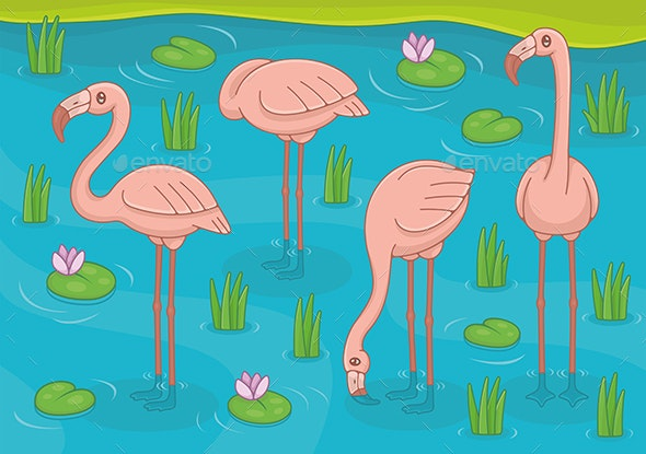 Group of Pink Flamingos - Animals Characters