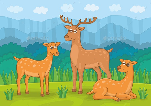 Family of Deer - Animals Characters