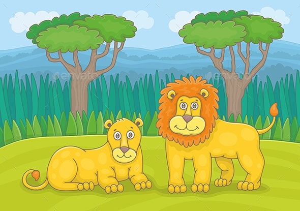 Family of Lions - Animals Characters