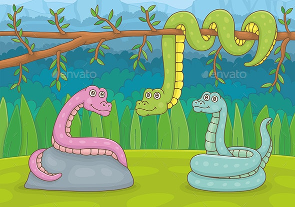 Three Snakes in Nature - Animals Characters