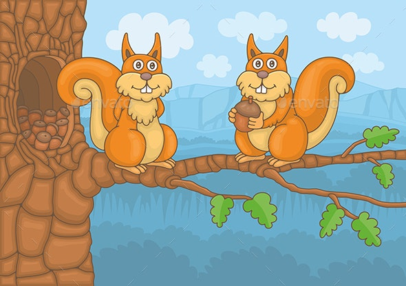 Two Squirrels - Animals Characters