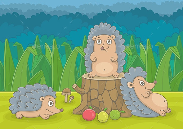 Three Hedgehogs - Animals Characters