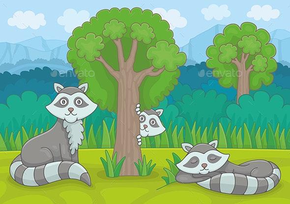 Three Raccoons - Animals Characters