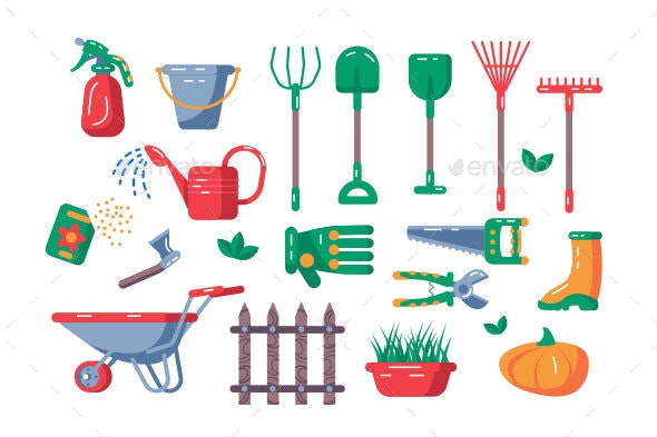 Gardening Equipment Set - Flowers & Plants Nature