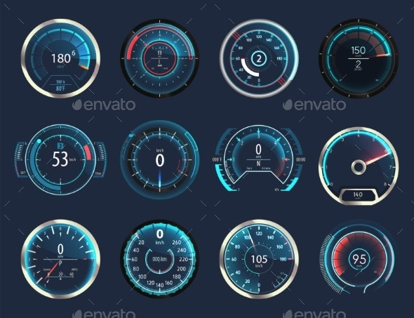Set of Isolated Car or Truck Speedometer - Miscellaneous Vectors