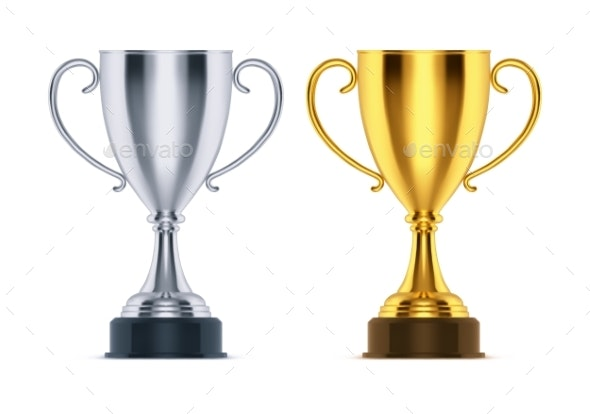 Winner Golden Trophy and Silver Runner-Up Cup - Sports/Activity Conceptual
