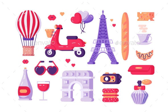 Paris Famous Symbols Set - Buildings Objects