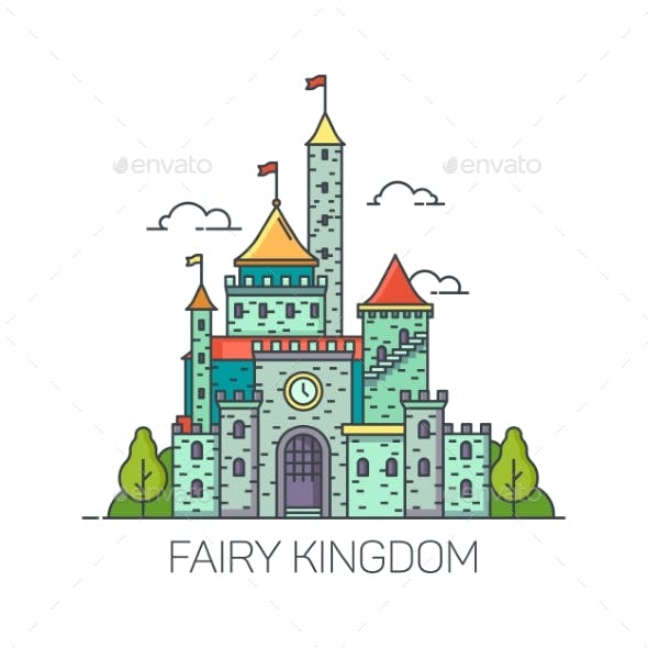 Cartoon Fairy Tale Castle or Flat Kingdom Fort