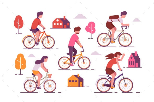 People Riding Bikes - Sports/Activity Conceptual