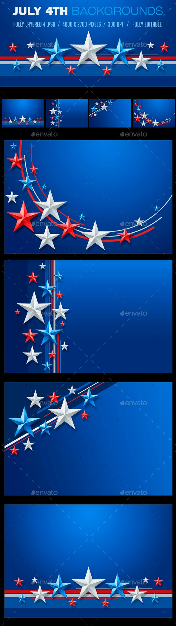 July 4th / 4th of July Backgrounds set - Backgrounds Graphics